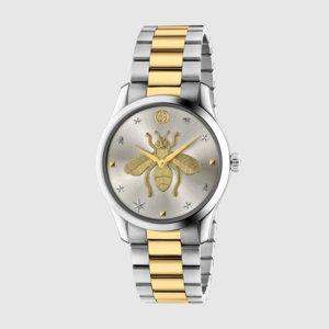 グッチのシルバーと真ん中にゴールドが入った腕時計