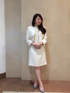 入園式 白 ツイードスーツ