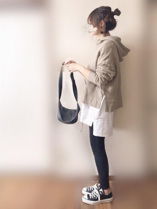 マタニティコーデ パーカー 30代ママ 授乳服