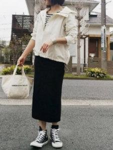 riSa.のTシャツ/カットソー「ボーダーワイドロンT」を使ったコーディネート
