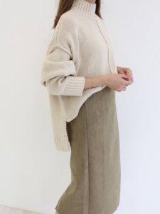 カーキスカート 秋冬 レディースファッション 細見え 着やせ