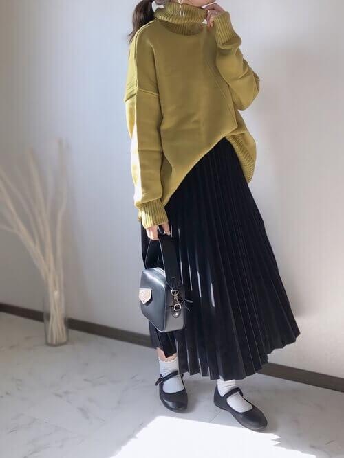 30代 40代 コーデ 低身長 150㎝ 体型カバー 痩せ見え プリーツスカート
