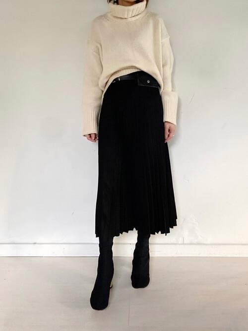 30代 40代 コーデ 低身長 ロングスカート 体型カバー 痩せ見え