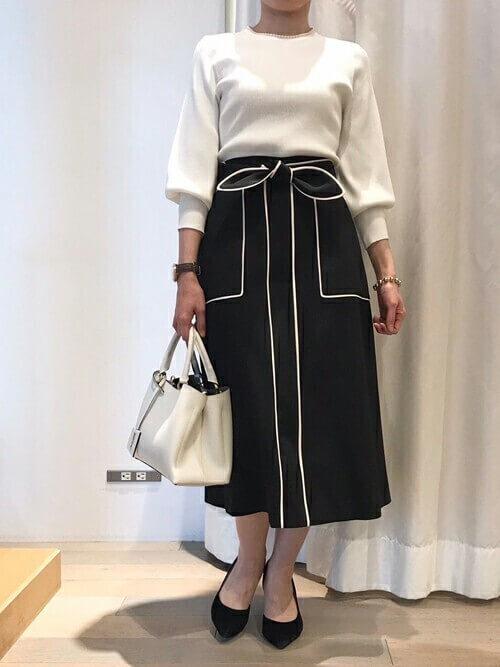 バイカラースカート ママ コーデ 30代 40代