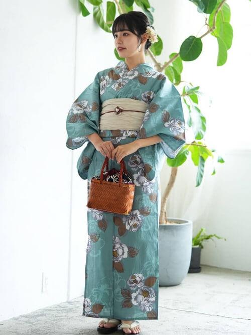 竹かごバッグ 選べる注染レトロ巾着