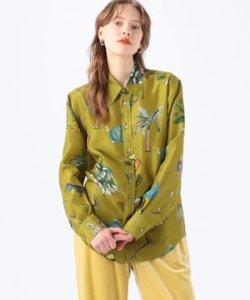 CABaN シルク ボタニカルプリントシャツ