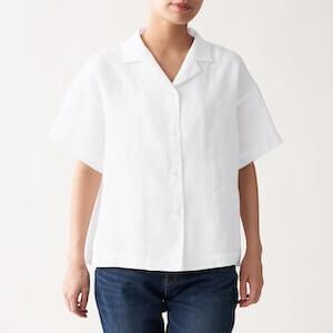 オーガニックリネン洗いざらし半袖開襟シャツ