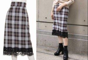 RANDAの裾レースタイトスカート