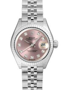 ロレックスのシルバーにピンクの円盤の時計